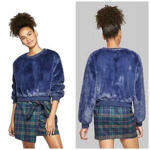 🆕Wild Fable Navy Faux Fur Pull Over Crop Shirt XS
